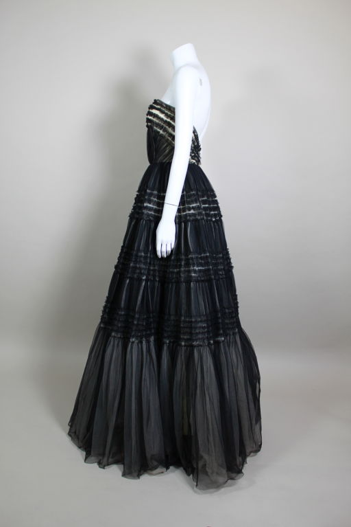 1950's Ruffled Tulle Strapless Ball Gown 4