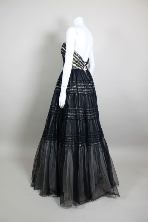 1950's Ruffled Tulle Strapless Ball Gown 5