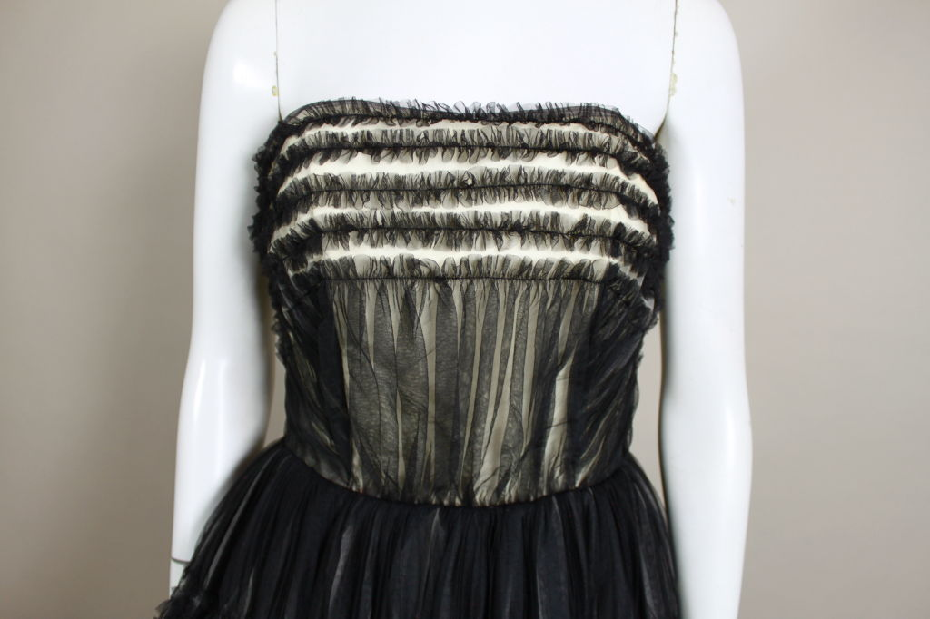 1950's Ruffled Tulle Strapless Ball Gown 6