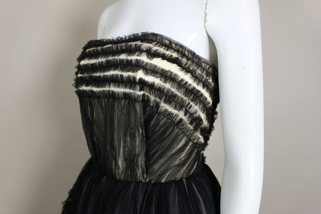 1950's Ruffled Tulle Strapless Ball Gown 7