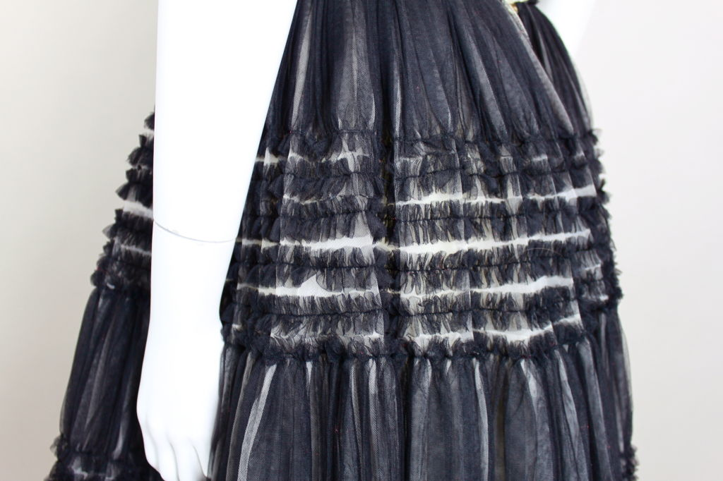 1950's Ruffled Tulle Strapless Ball Gown 8