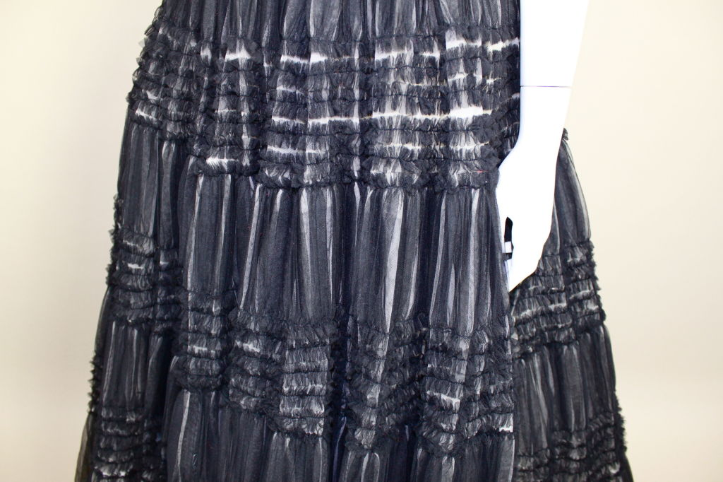 1950's Ruffled Tulle Strapless Ball Gown 9