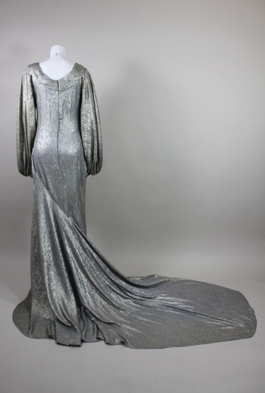 1930 S Silver Lam 233 Gown With Train At 1stdibs