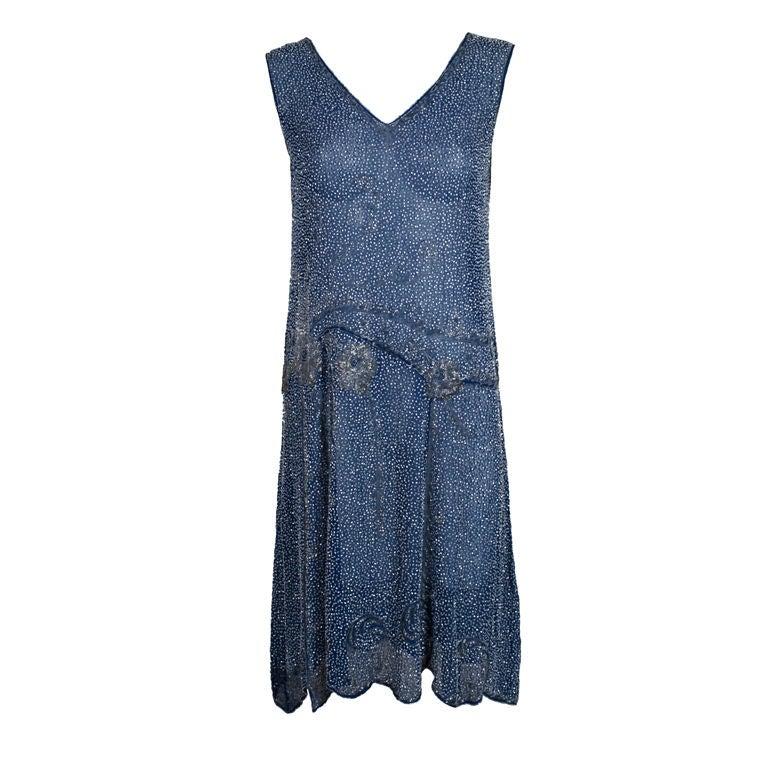 1920's Beaded Blue Cotton Batiste Party Dress 1