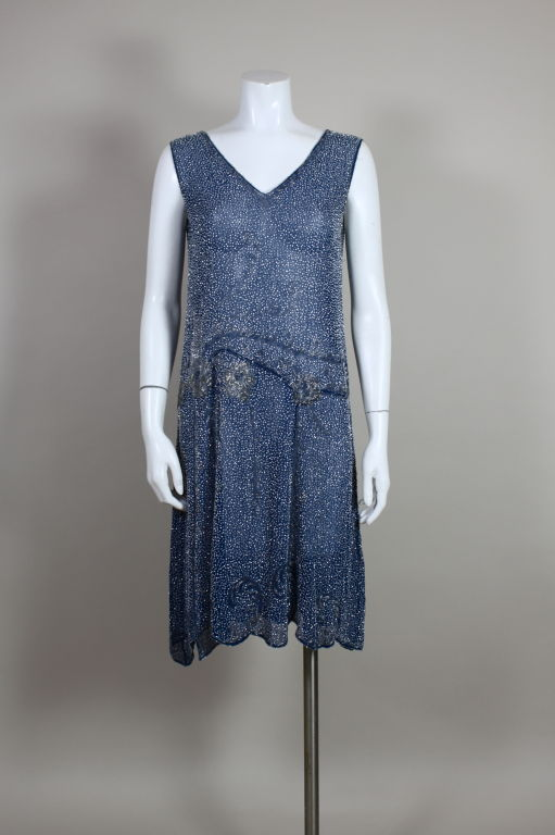 1920's Beaded Blue Cotton Batiste Party Dress 2
