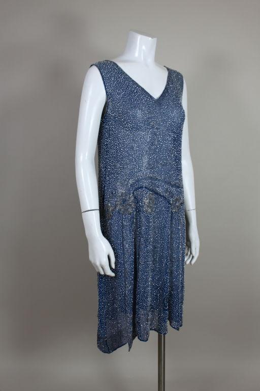 1920's Beaded Blue Cotton Batiste Party Dress 3