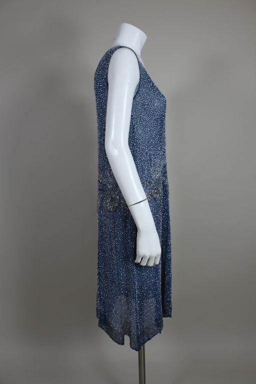 1920's Beaded Blue Cotton Batiste Party Dress 4