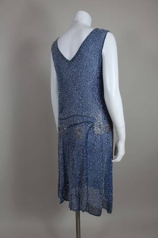 1920's Beaded Blue Cotton Batiste Party Dress 5
