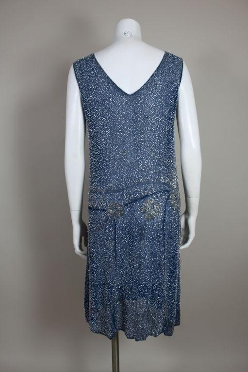 1920's Beaded Blue Cotton Batiste Party Dress 6