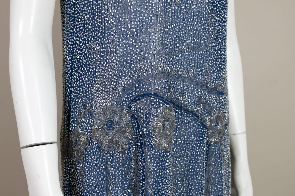 1920's Beaded Blue Cotton Batiste Party Dress 7