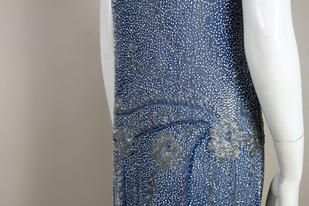 1920's Beaded Blue Cotton Batiste Party Dress 9