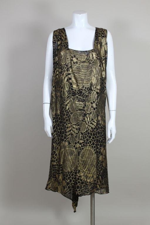 1920's Gold Lamé Deco Floral Party Dress 2