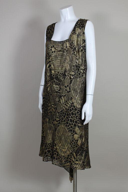 1920's Gold Lamé Deco Floral Party Dress 3