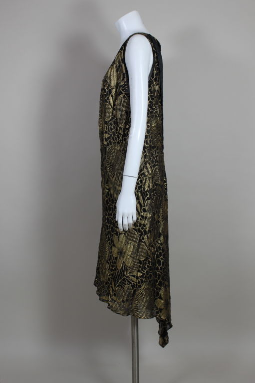1920's Gold Lamé Deco Floral Party Dress 4