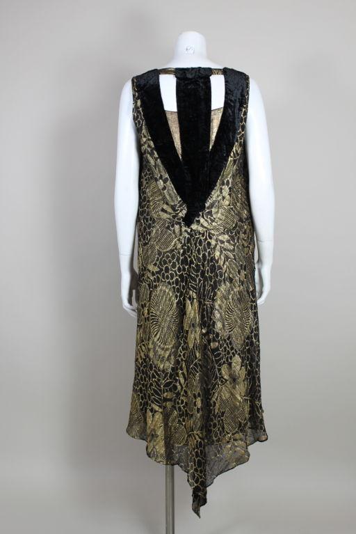 1920's Gold Lamé Deco Floral Party Dress 5
