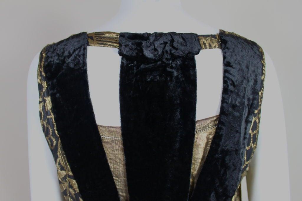 1920's Gold Lamé Deco Floral Party Dress 7