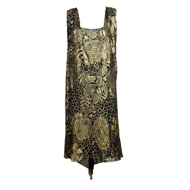 1920's Gold Lamé Deco Floral Party Dress 1