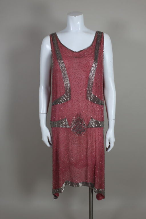 1920s Rose Pink Beaded French Flapper Dress 2