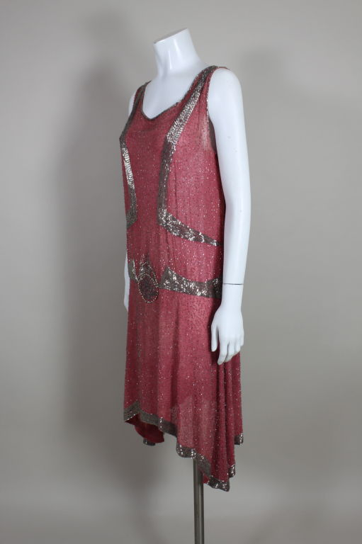 1920s Rose Pink Beaded French Flapper Dress 3