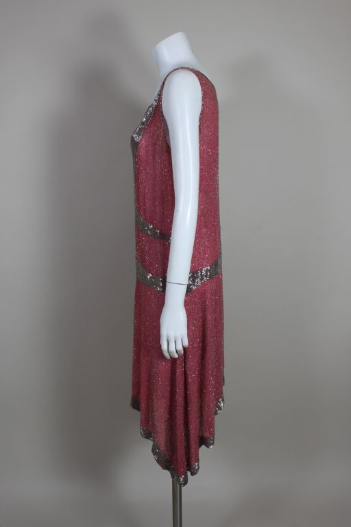 1920â??s Rose Pink Beaded French Flapper Dress image 4