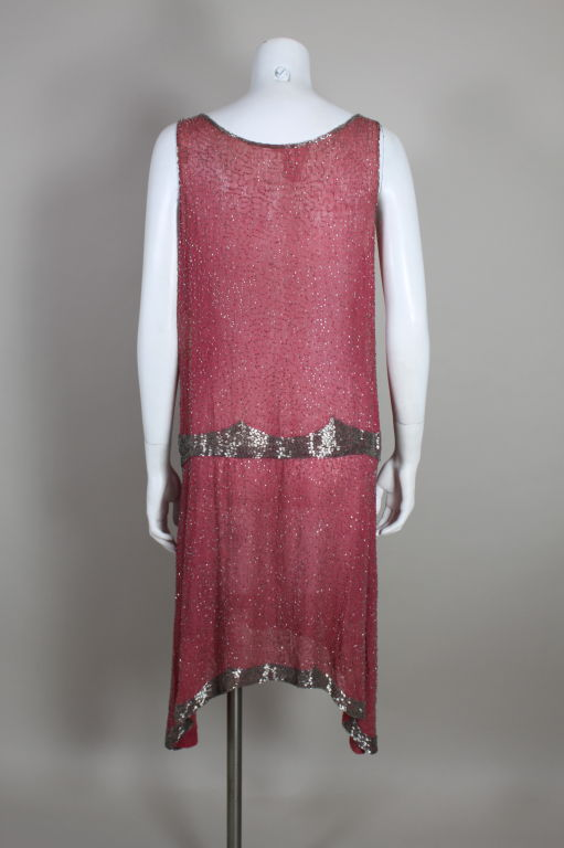 1920s Rose Pink Beaded French Flapper Dress 5
