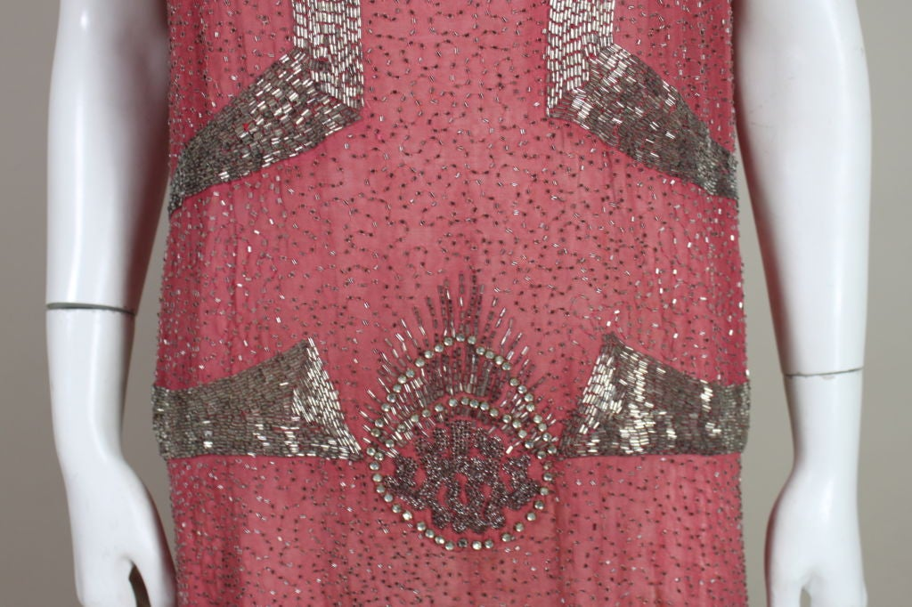 1920s Rose Pink Beaded French Flapper Dress 6