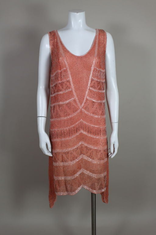 1920s French Peach Beaded Cotton Flapper Party Dress 2