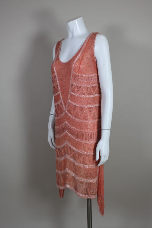 1920s French Peach Beaded Cotton Flapper Party Dress 3