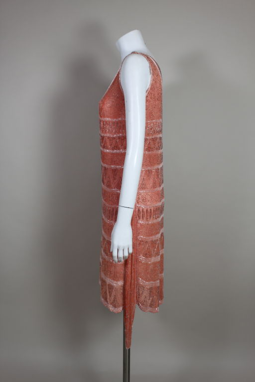 1920s French Peach Beaded Cotton Flapper Party Dress 4