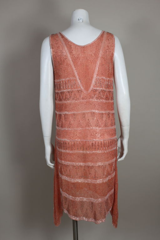 1920s French Peach Beaded Cotton Flapper Party Dress 5