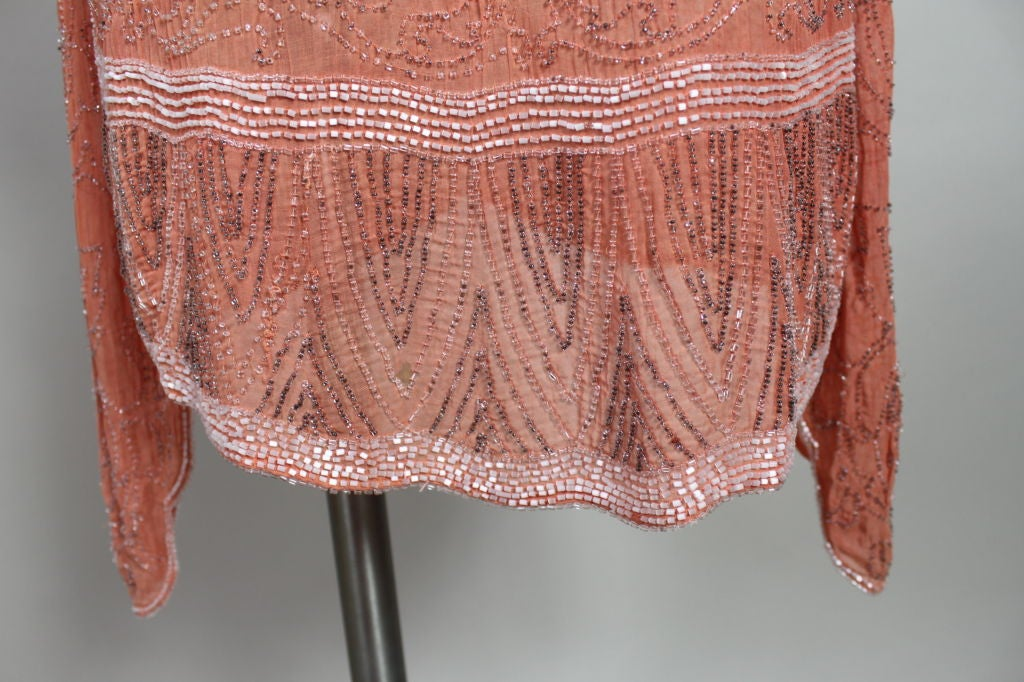 1920s French Peach Beaded Cotton Flapper Party Dress 6