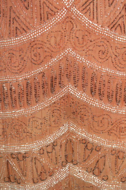 1920s French Peach Beaded Cotton Flapper Party Dress 8