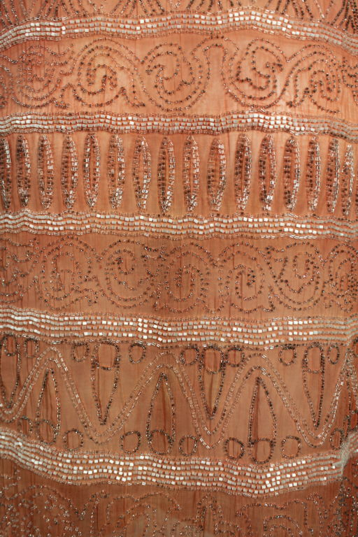 1920s French Peach Beaded Cotton Flapper Party Dress 9