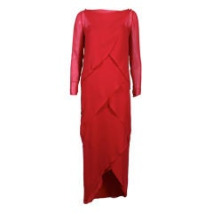Bill Blass Scalloped Red Silk Chiffon Gown with Capelet