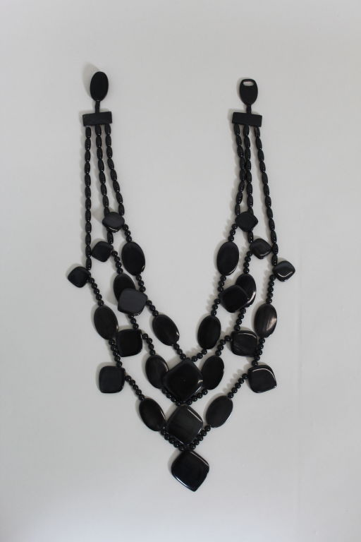 Monies 1980s Multistrand Obsidian Statement Necklace 2