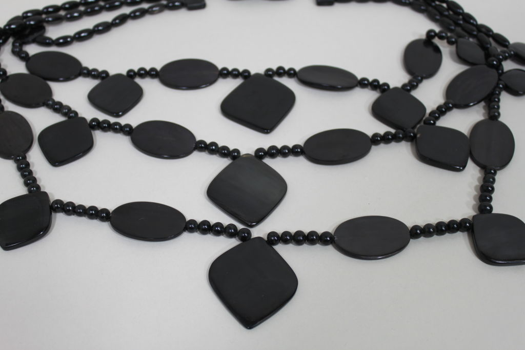 Monies 1980s Multistrand Obsidian Statement Necklace 3