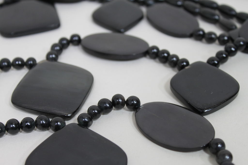 Monies 1980s Multistrand Obsidian Statement Necklace 4