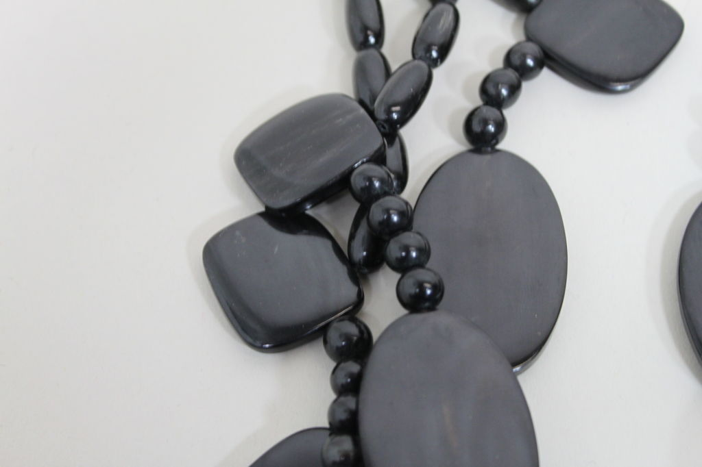 Monies 1980s Multistrand Obsidian Statement Necklace 5