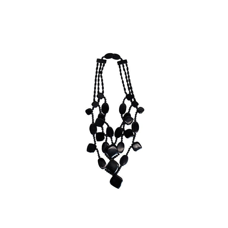 Monies 1980s Multistrand Obsidian Statement Necklace 1