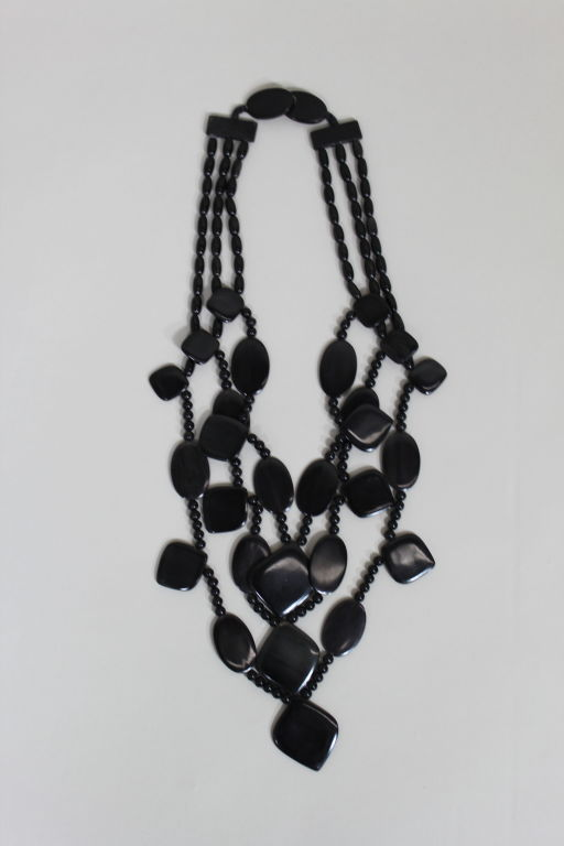 Monies 1980s Multistrand Obsidian Statement Necklace 8