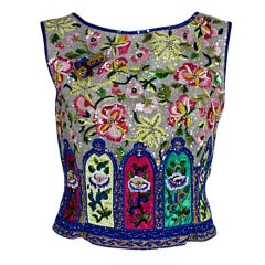 Valentino Hand-Embroidered Beaded Paneled Silk Shell Top