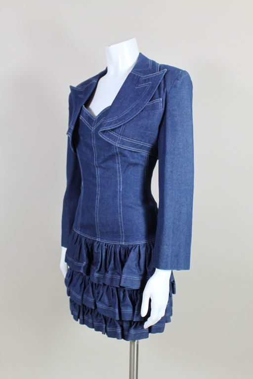 Blue 1980's Patrick Kelly Denim Mini Dress with Jacket For Sale