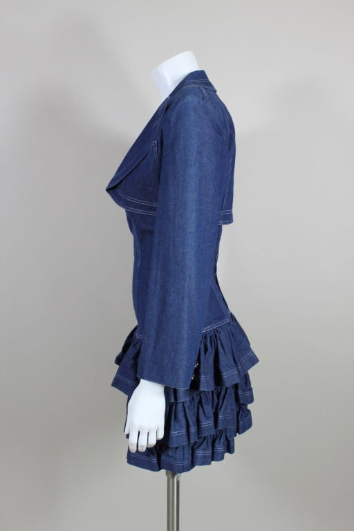 Women's 1980's Patrick Kelly Denim Mini Dress with Jacket For Sale
