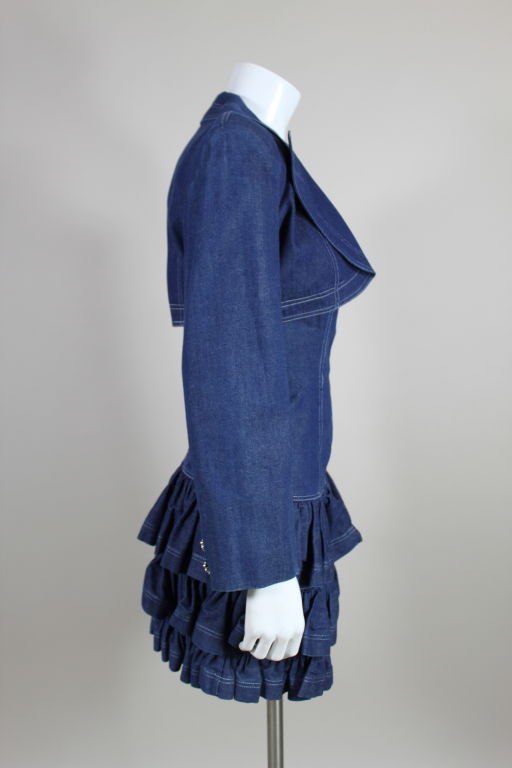 1980's Patrick Kelly Denim Mini Dress with Jacket For Sale 1