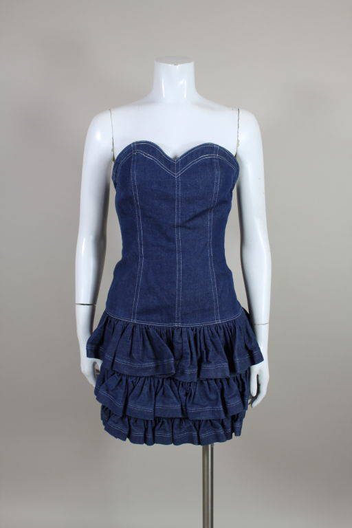 1980's Patrick Kelly Denim Mini Dress with Jacket For Sale 2