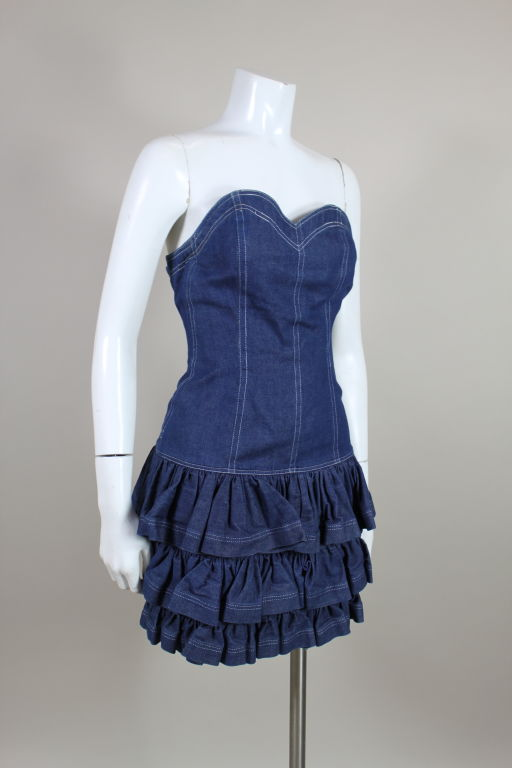 1980's Patrick Kelly Denim Mini Dress with Jacket For Sale 3
