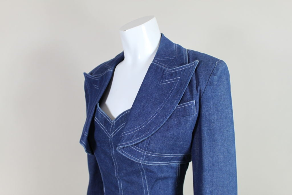 1980's Patrick Kelly Denim Mini Dress with Jacket For Sale 4