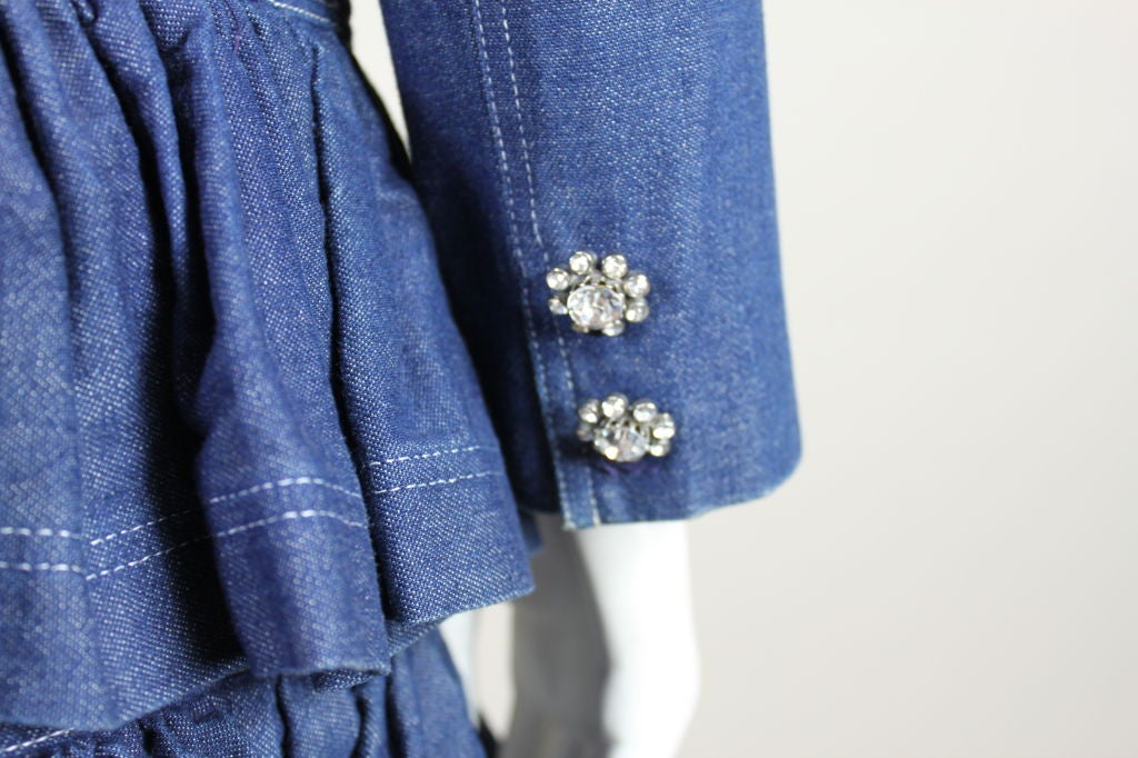 1980's Patrick Kelly Denim Mini Dress with Jacket For Sale 5