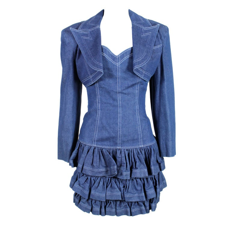 1980's Patrick Kelly Denim Mini Dress with Jacket For Sale