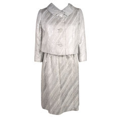 Mainbocher 1960s Silver Lamé Brocade Dress with Jacket